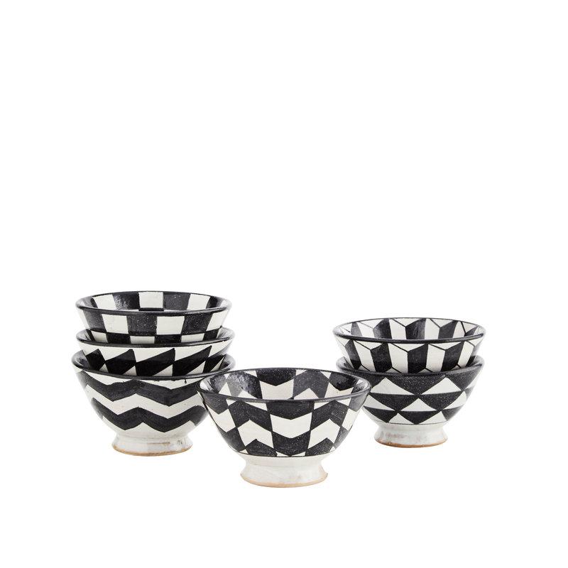Madam Stoltz-collectie Aardewerk bakjes met 6 verschillende designs zwart-wit