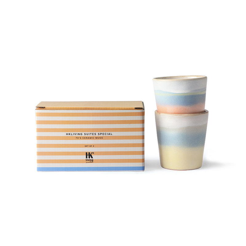 HKliving-collectie HKliving Suites Special: ceramic 70's mugs horizon set of 2
