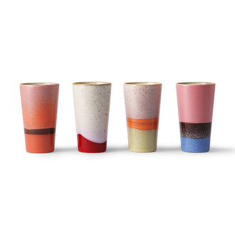 HKliving ceramic 70's latte mugs set of 4