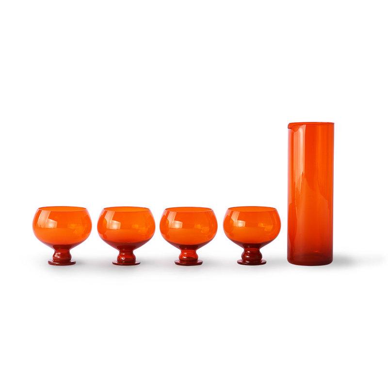 HKliving-collectie Funky oranje karaf met glazen