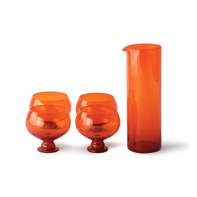 HKliving-collectie funky orange glassware set