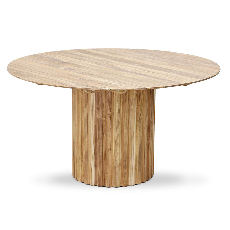 HKliving-collectie pillar dining table round teak