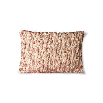 HKliving Floral jacquard weave kussen burgundy/geel 40x30