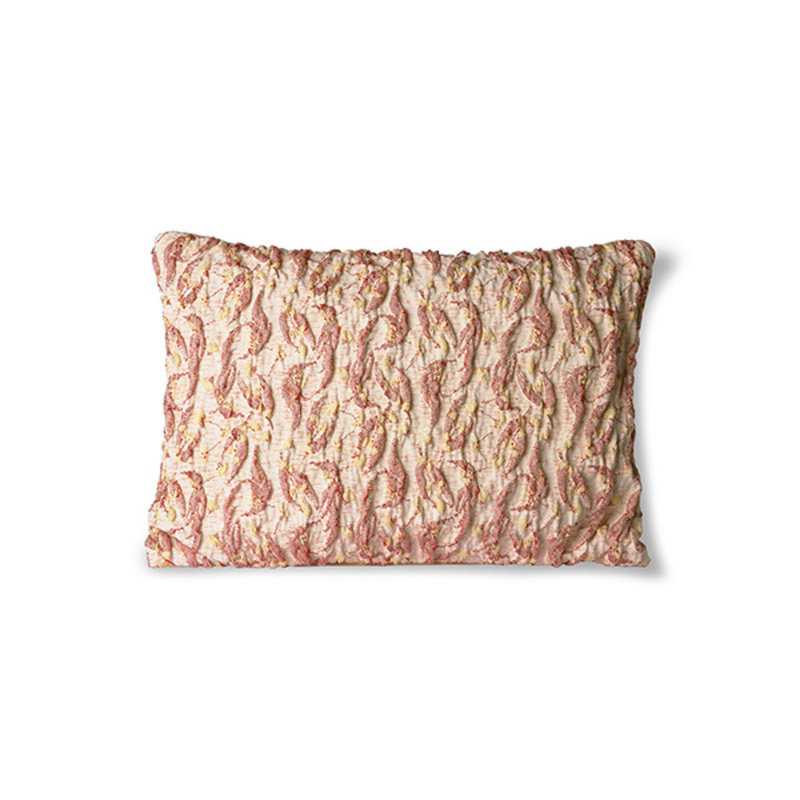 HKliving-collectie Floral jacquard weave kussen burgundy/geel 40x30