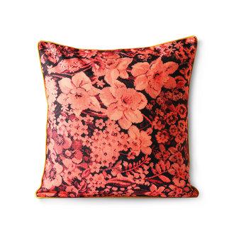 HKliving Geprint bloemen kussen koraal/zwart 50x50
