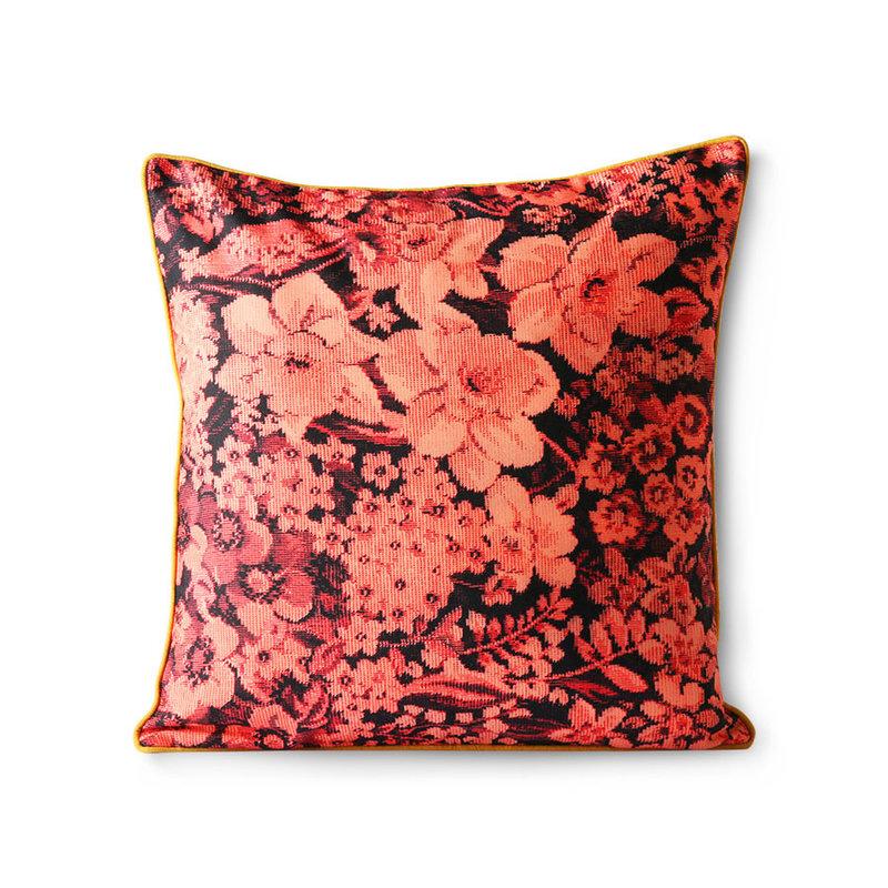 HKliving-collectie Geprint bloemen kussen koraal/zwart 50x50