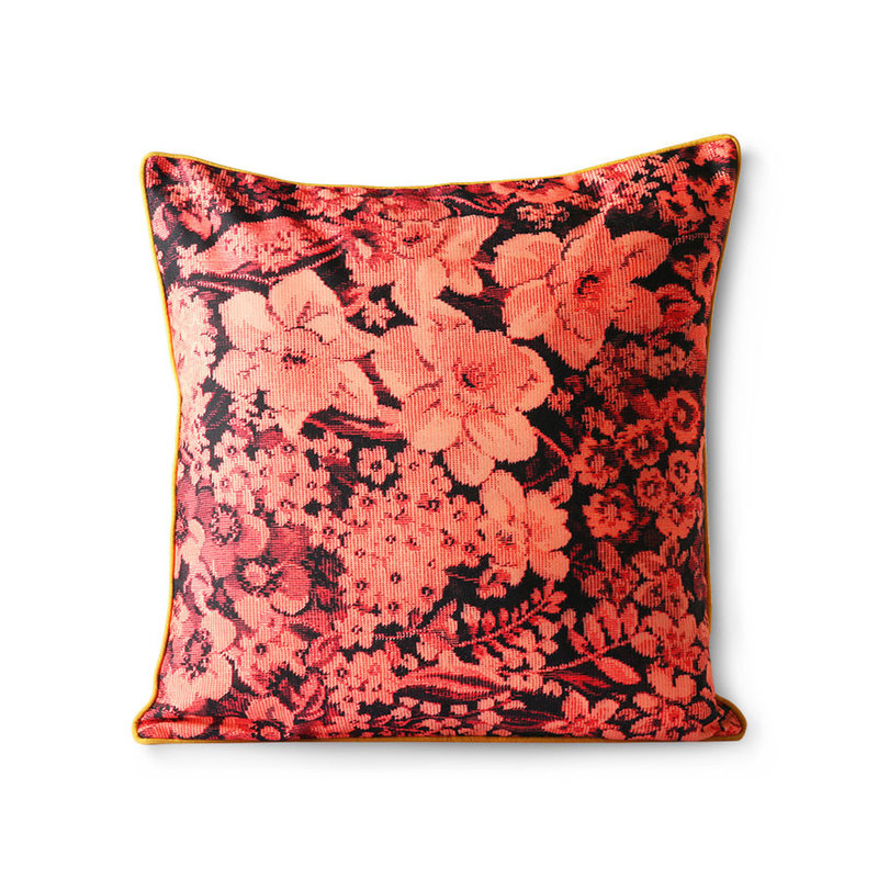 HKliving-collectie printed floral cushion coral/black (50x50)