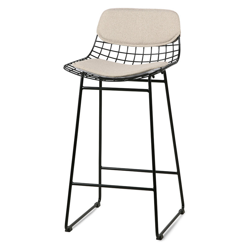 HKliving-collectie wire bar stool comfort kit sand