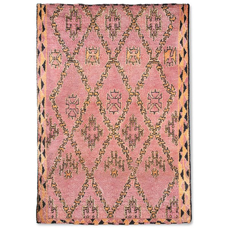 HKliving-collectie hand knotted woolen berber rug terra/orange (250x350)