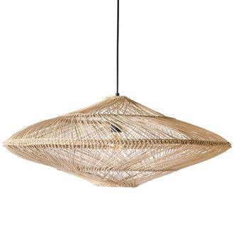 HKliving Ovale hanglamp naturel gevlochten riet