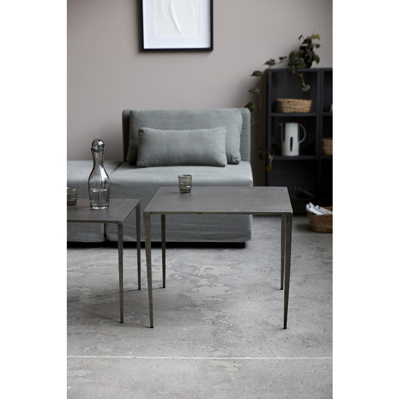 House Doctor-collectie Side table Ranchi, Nickel,  L: 50 cm, B: 50 cm, H: 45 cm