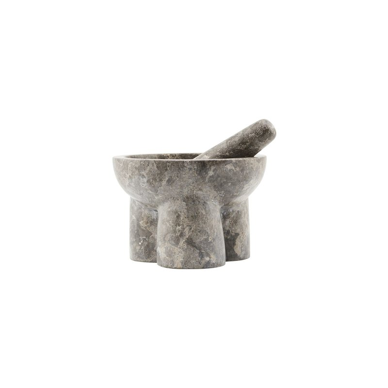 House Doctor-collectie Mortar w. pestle Kulti, Grey/Brown, Set of 2 pcs