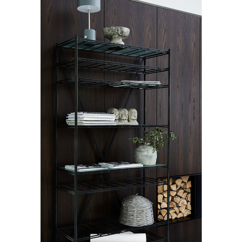 House Doctor-collectie Wine rack Gany, Black, Incl. 3 glass shelves