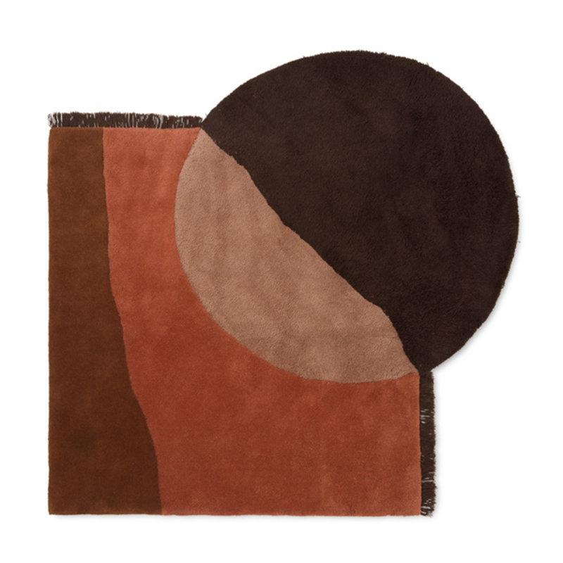 ferm LIVING-collectie Vloerkleed View Tufted roodbruin