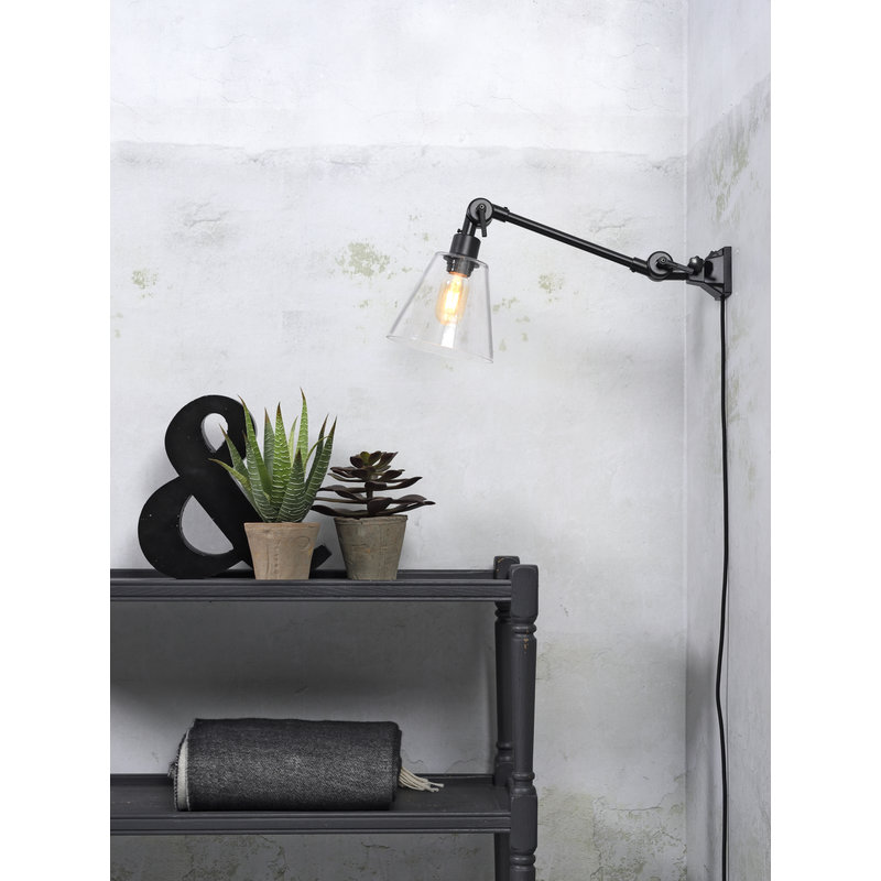 it's about RoMi-collectie Wall lamp Amsterdam glass shade clear, S