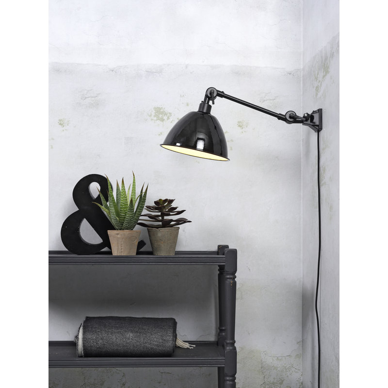 it's about RoMi-collectie Wall lamp Amsterdam enamel shade black, S