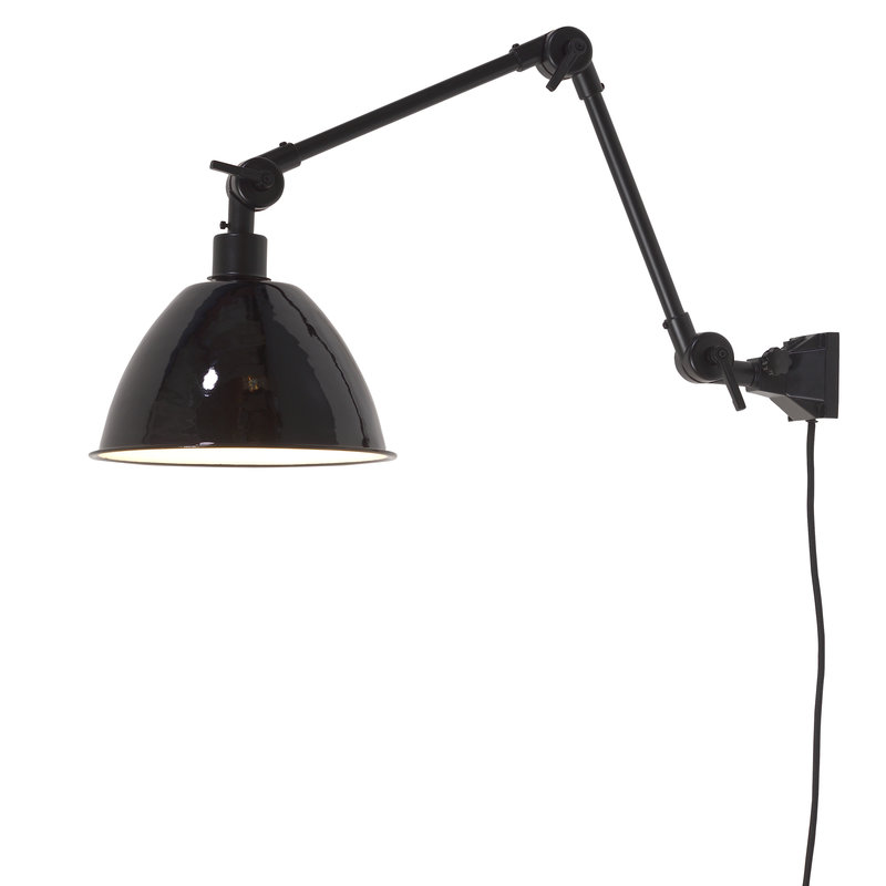 it's about RoMi-collectie Wandlamp Amsterdam emaille kap zwart, M
