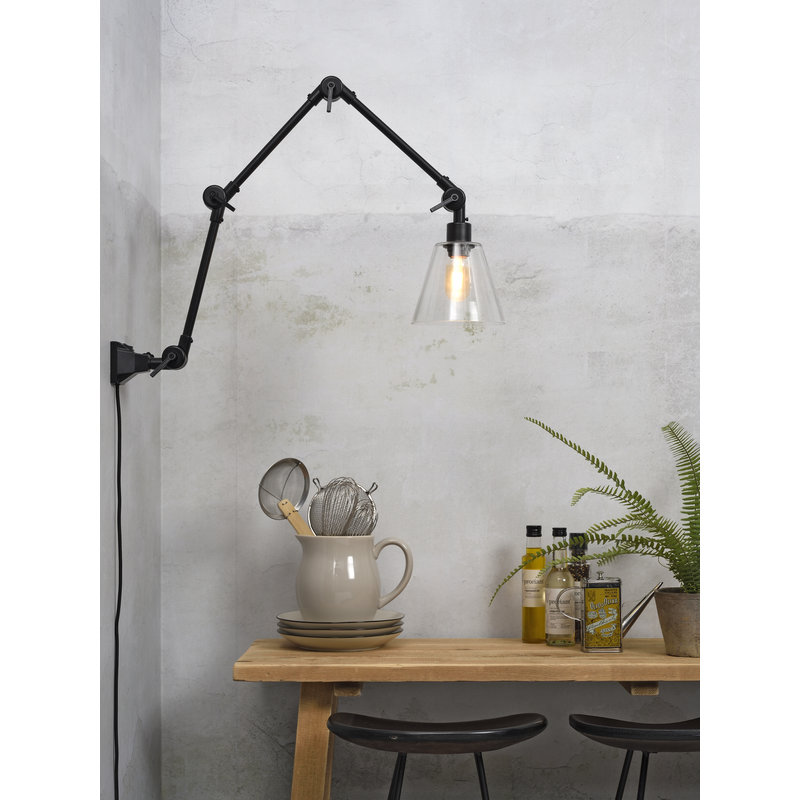 it's about RoMi-collectie Wall lamp Amsterdam glass shade clear, L