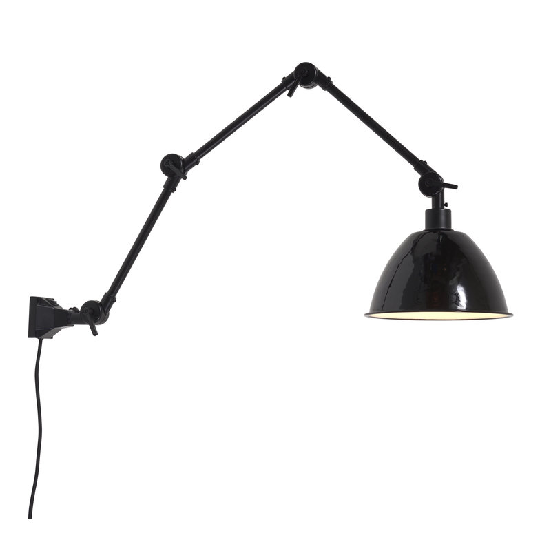 it's about RoMi-collectie Wandlamp Amsterdam emaille kap zwart, L