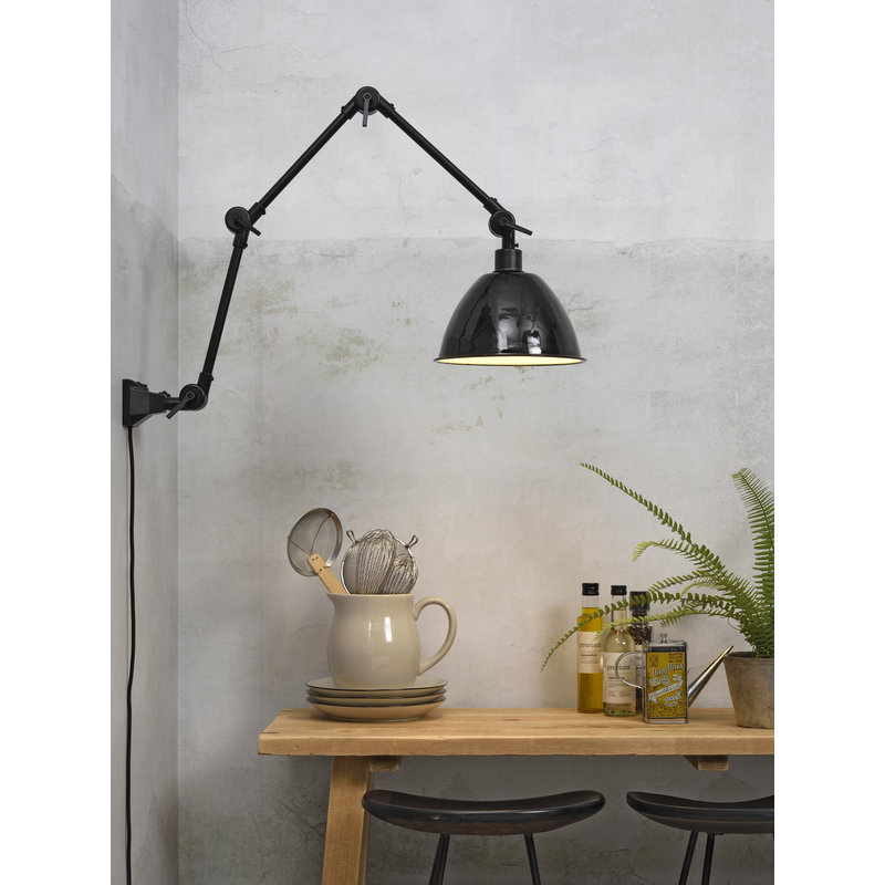 it's about RoMi-collectie Wall lamp Amsterdam enamel shade black, L