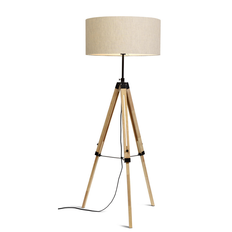it's about RoMi-collectie Floor lamp Darwin black/shade 6030 l.linen