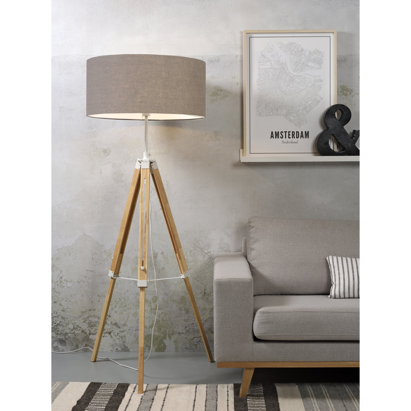 it's about RoMi-collectie Floor lamp Darwin white/shade 6030 d.linen