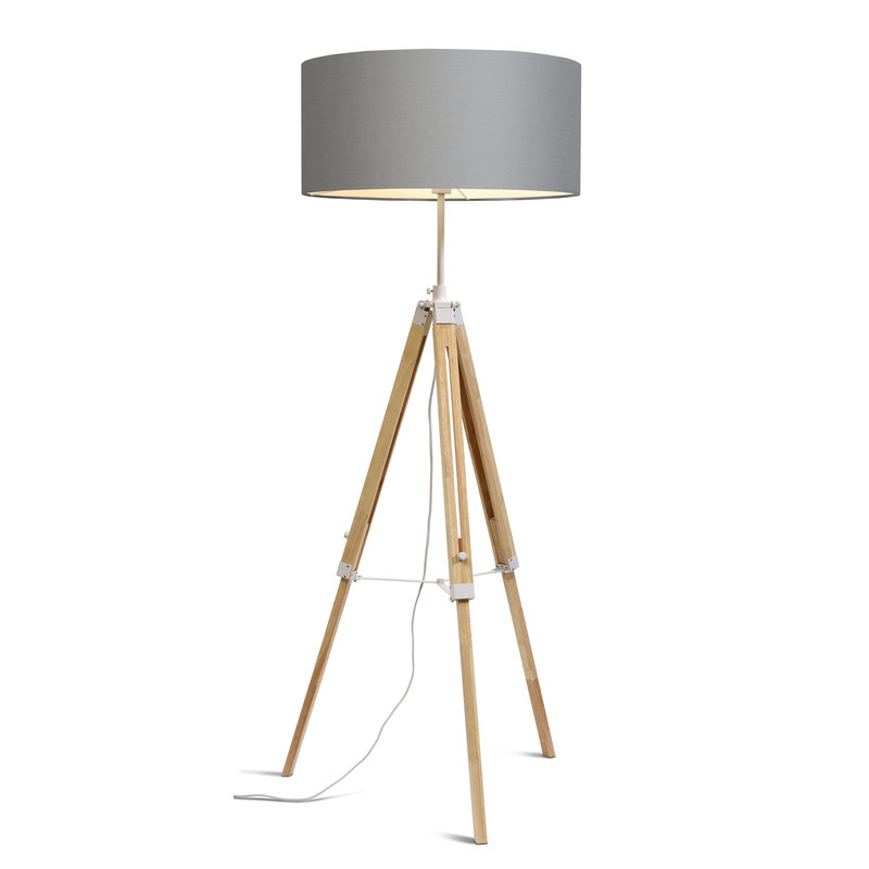 it's about RoMi-collectie Vloerlamp Darwin wit/kap 6030 l.grijs