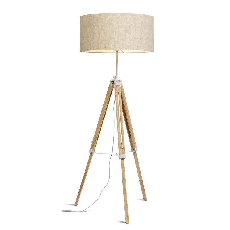 it's about RoMi-collectie Vloerlamp Darwin wit/kap 6030 l.linnen