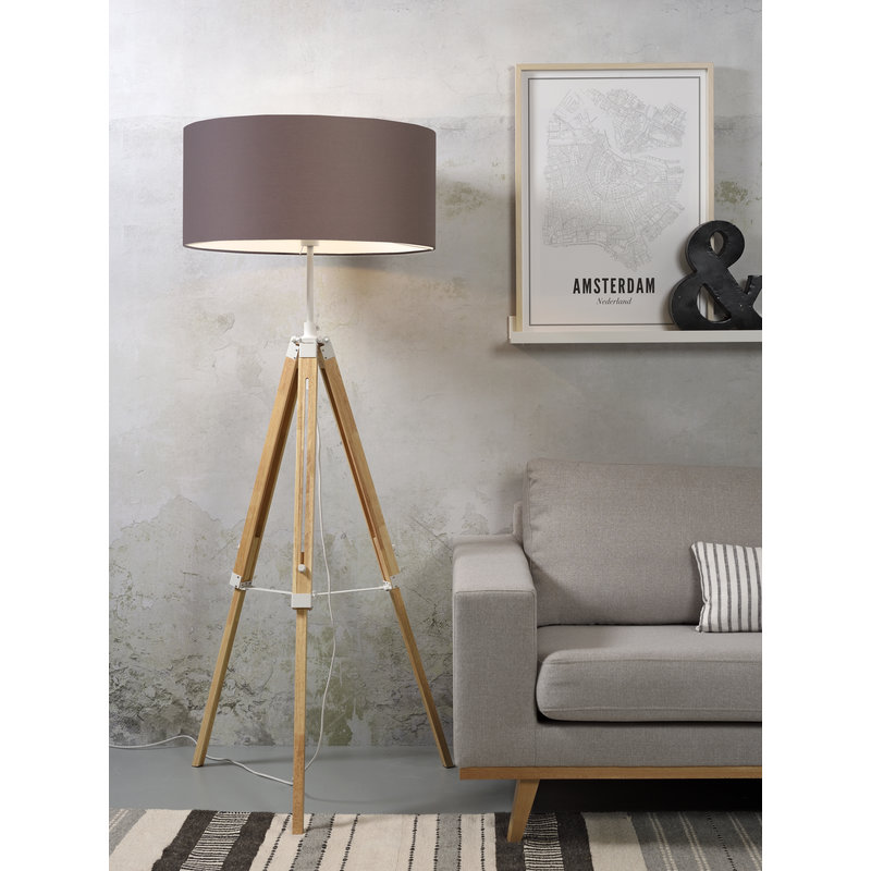 it's about RoMi-collectie Vloerlamp Darwin wit/kap 6030 sand grey