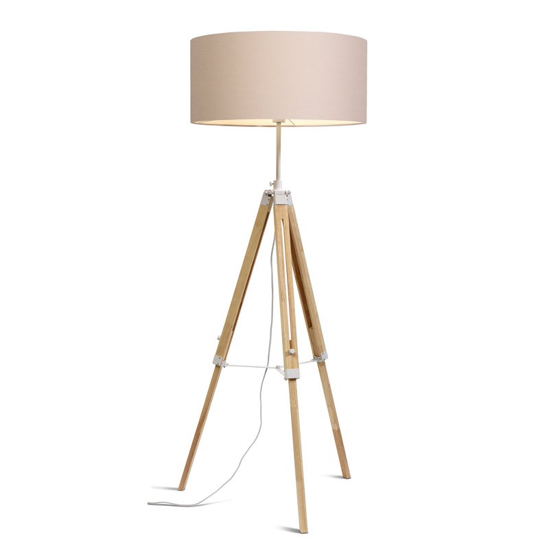 it's about RoMi-collectie Vloerlamp Darwin wit/kap 6030 taupe