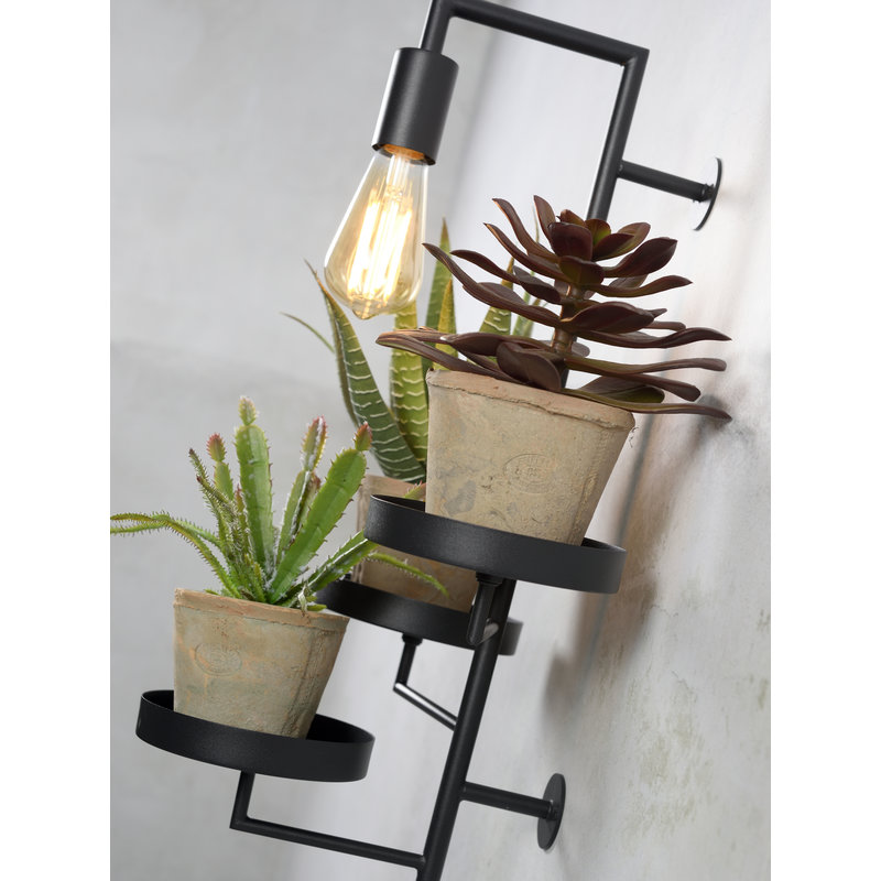 it's about RoMi-collectie Wandlamp/3 planthouders Florence zwart