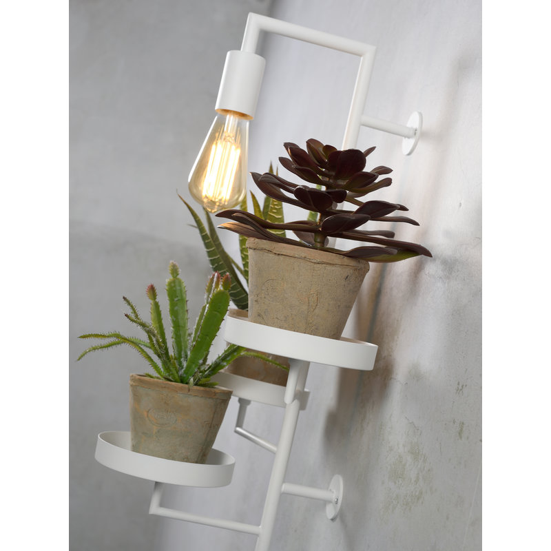 it's about RoMi-collectie Wandlamp/3 planthouders Florence wit
