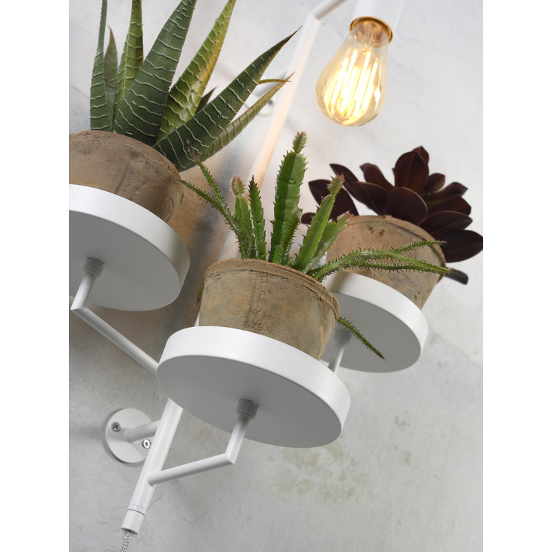 it's about RoMi-collectie Wall lamp/3 plant holders Florence white