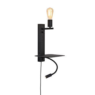 it's about RoMi Wandlamp Florence plank+usb+leeslamp zwart