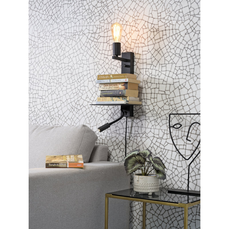 it's about RoMi-collectie Wandlamp Florence plank+usb+leeslamp zwart