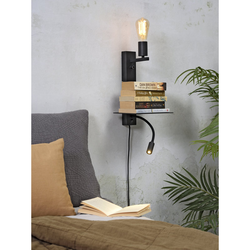 it's about RoMi-collectie Wall lamp Florence shelf+usb+reading light black