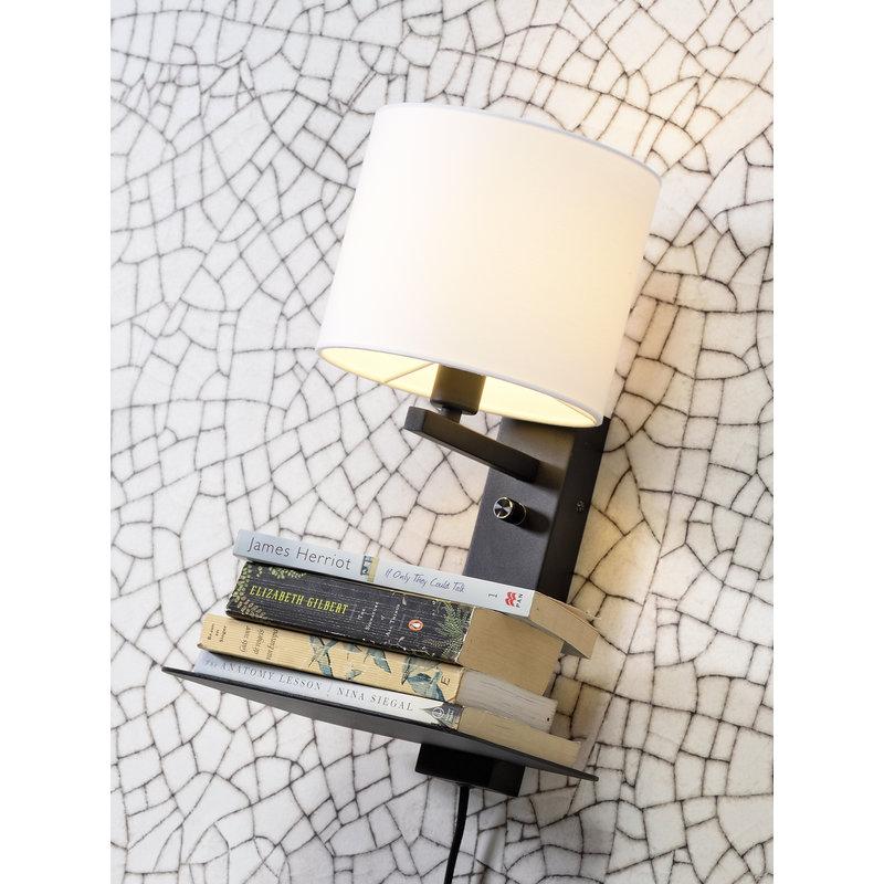 it's about RoMi-collectie Wandlamp Florence plank+usb+kap 1815 zwart