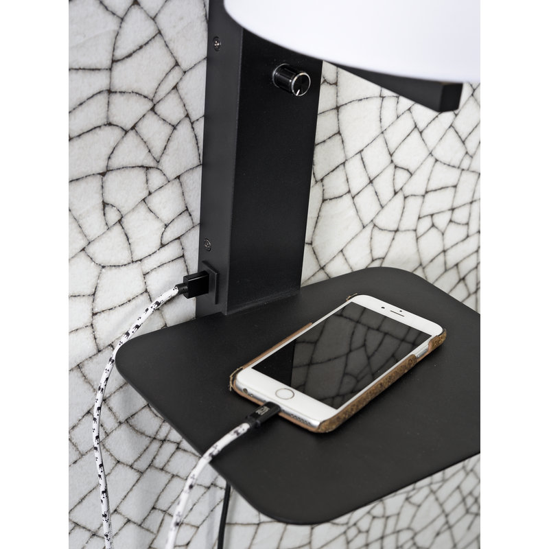it's about RoMi-collectie Wall lamp Florence shelf+usb+shade 1815 black