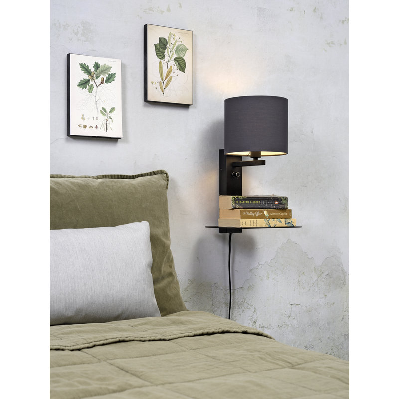 it's about RoMi-collectie Wandlamp Florence plank+usb+kap 1815 d.grijs