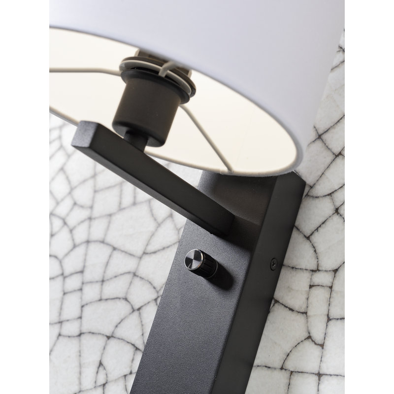 it's about RoMi-collectie Wall lamp Florence shelf+usb+shade 1815 d.grey
