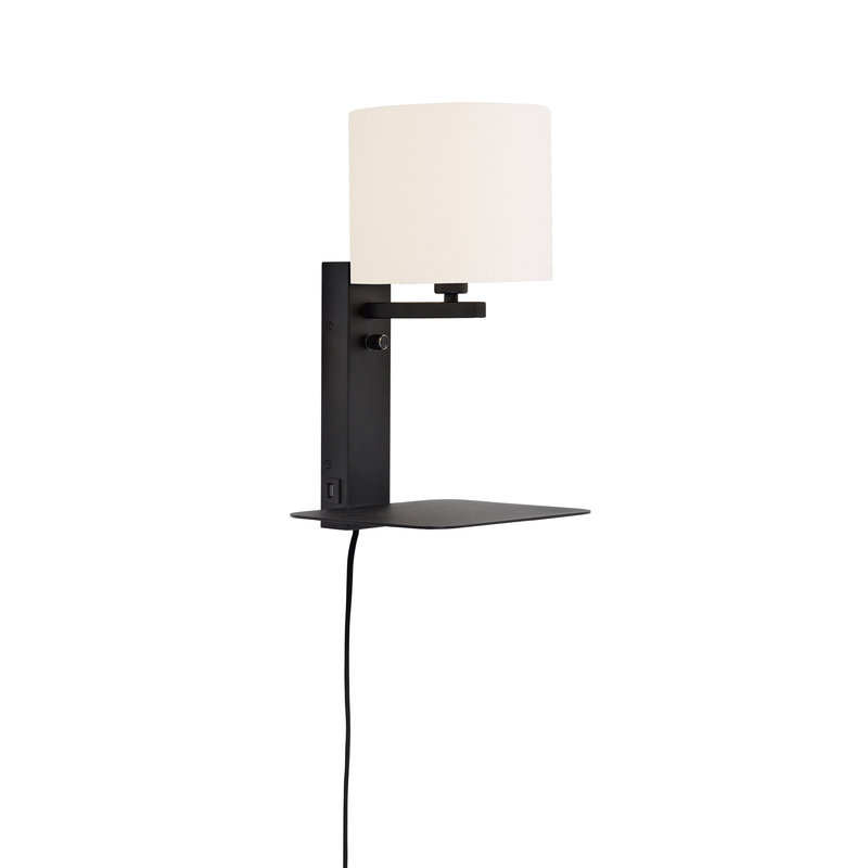 it's about RoMi-collectie Wandlamp Florence plank+usb+kap 1815 wit