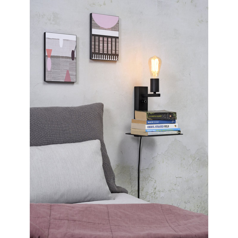 it's about RoMi-collectie Wall lamp Florence shelf+usb black