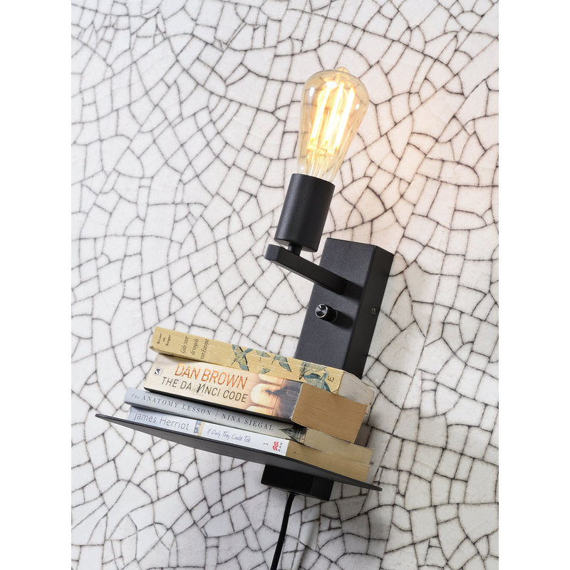 it's about RoMi-collectie Wandlamp Florence plank+usb zwart