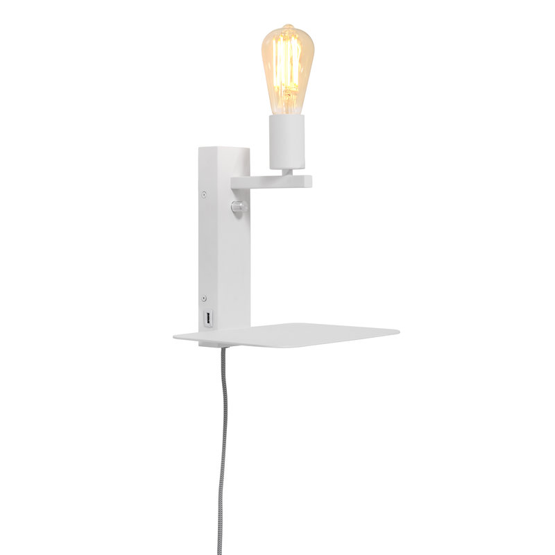 it's about RoMi-collectie Wandlamp Florence plank+usb wit
