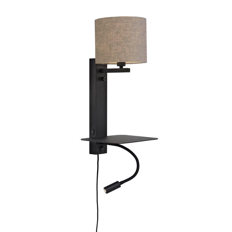 it's about RoMi-collectie Wandlamp Florence plank+usb+leeslamp/kap 1815 d.linnen