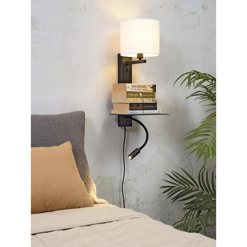 it's about RoMi-collectie Wandlamp Florence plank+usb+leeslamp/kap 1815 wit