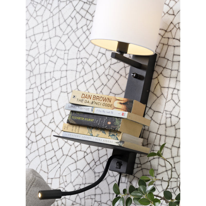 it's about RoMi-collectie Wall lamp Florence shelf+usb+reading light/shade 1815 white