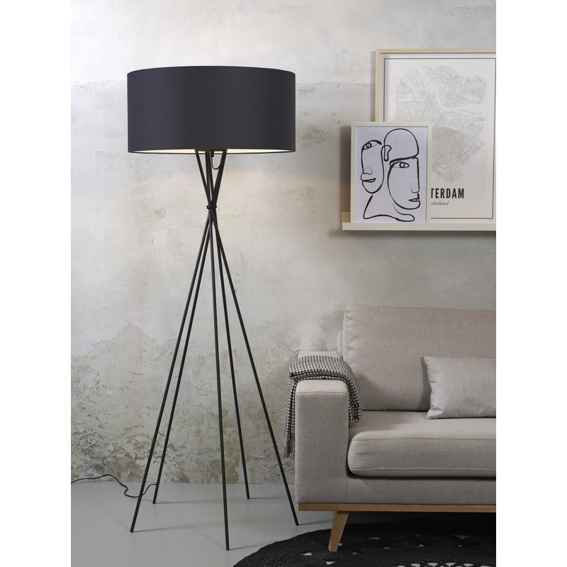 it's about RoMi-collectie Floor lamp Lima black/shade 6030 d.grey
