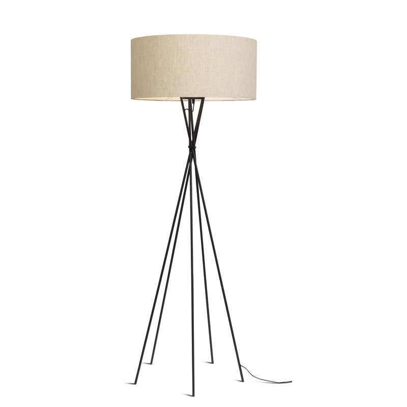 it's about RoMi-collectie Floor lamp Lima black/shade 6030 l.linen