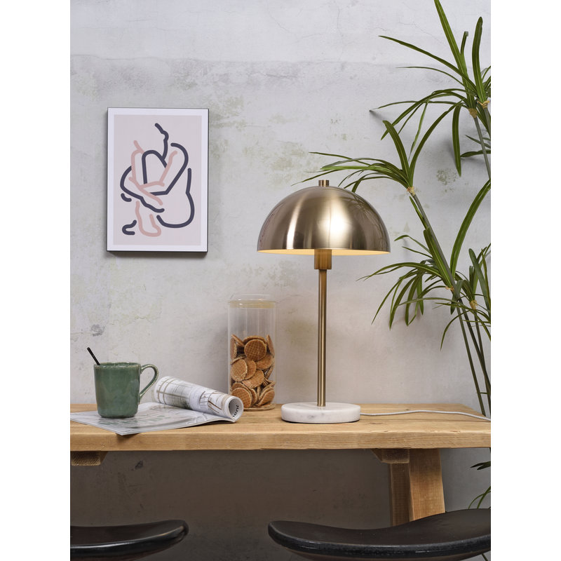 it's about RoMi-collectie Tafellamp ijzer/marmer Toulouse wit/goud